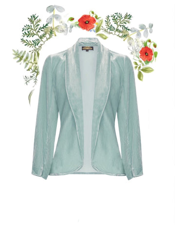 Rosa jacket in seafoam silk velvet