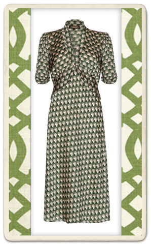 Sable Midi Dress in Malachite Fan Print Crepe