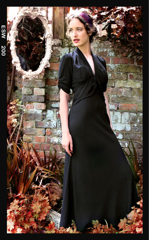 Sable maxi dress in black crepe