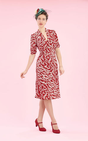 Sable dress in ruby stork crepe