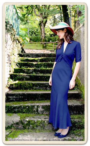 Sable maxi dress in French navy crepe