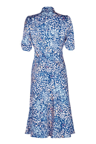 Nancy Mac Sable dress - a midi dress in Japanese style blue floral crepe - mannequin back