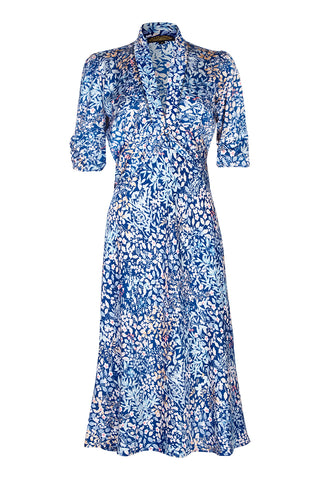 Nancy Mac Sable dress - a midi dress in Japanese style blue floral crepe - mannequin