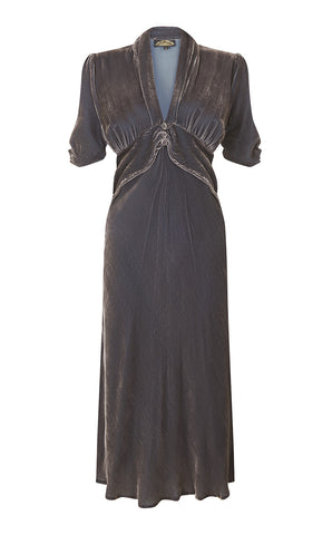 Sable dress in mink silk velvet - front mannequin