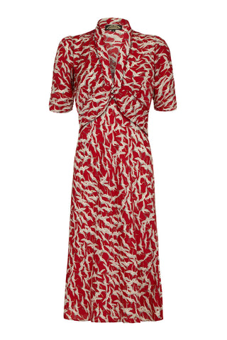 Sable dress in ruby stork crepe - mannequin front