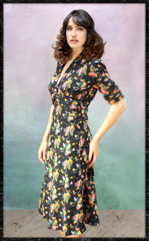 Sable dress in Bohème bloom print crepe - front model
