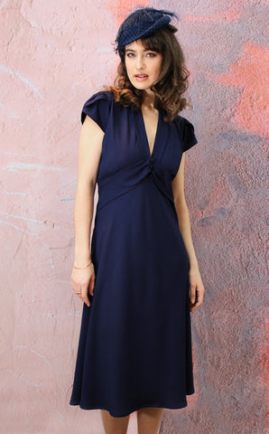 Sable petal-sleeve dress in French navy crepe