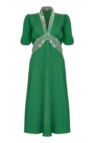 Sable dress in Montecarlo green crepe