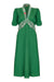 Nancy Mac Sable dress in Montecarlo green moss crepe with lace trim - mannequin front