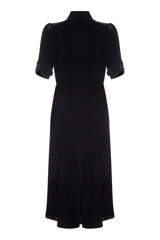 Sable midi dress in jet black silk velvet - back mannequin