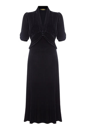 Sable dress in jet black silk velvet - front mannequin