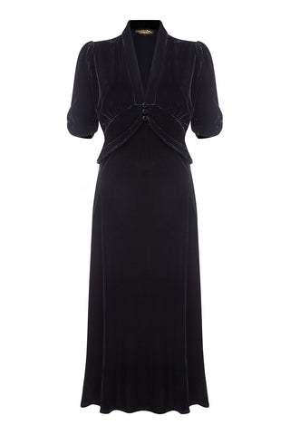 Sable midi dress in jet black silk velvet - front mannequin