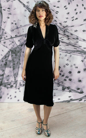 Sable midi dress in jet black silk velvet - model shot