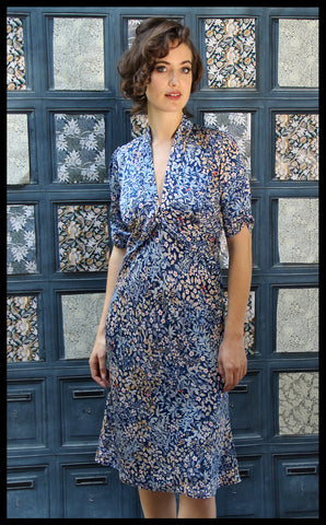 Nancy Mac Sable dress - a midi dress in Japanese style blue floral crepe