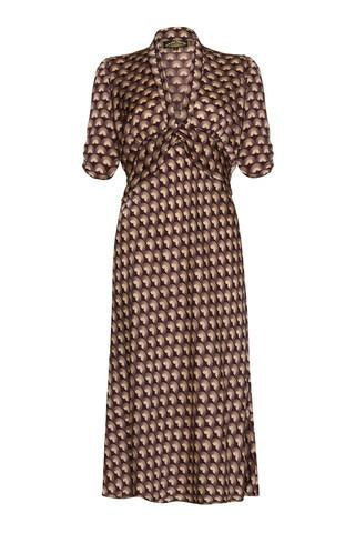 Sable Midi Dress in Chocolate Fan Print Crepe