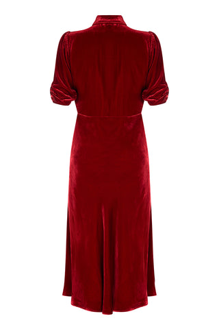 Sable midi dress in deep red silk velvet - back mannequin