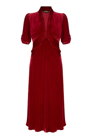 Sable midi dress in deep red silk velvet - front mannequin