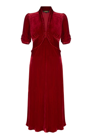 Sable dress in deep red silk velvet - front mannequin