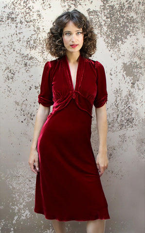 Sable midi dress in deep red silk velvet - model shot