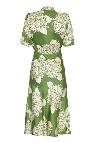 Nancy Mac Sable dress in green Hydrangea print crepe - mannequin back