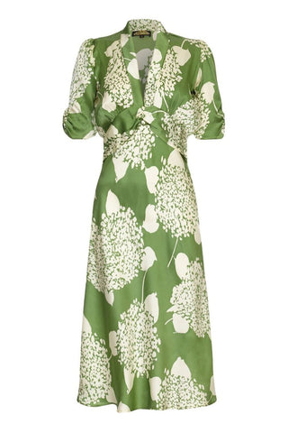 Sable midi dress in green Hydrangea print crepe