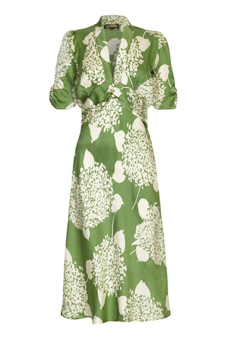 Nancy Mac Sable dress in green Hydrangea print crepe - mannequin front