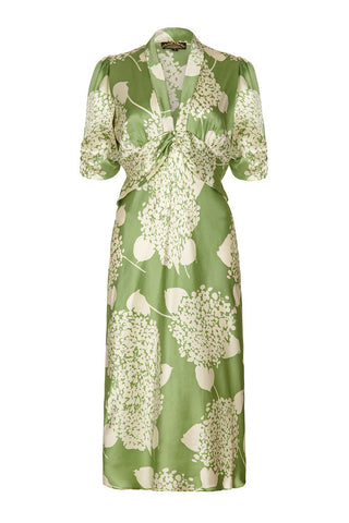Sable midi dress in green hydrangea silk satin