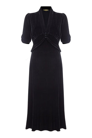 Sable dress in jet black silk velvet