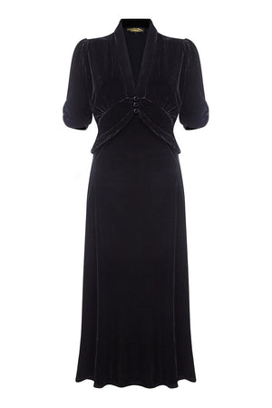 Sable dress in jet black silk velvet - mannequin front