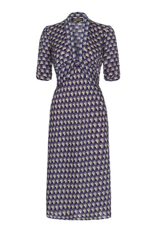 Sable dress in French navy fan print crepe