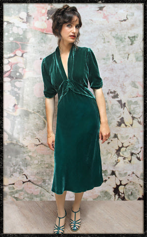 Sable dress in peacock silk velvet - front model shot