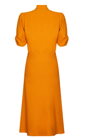 Sable dress in saffron moss crepe - back mannequin shot