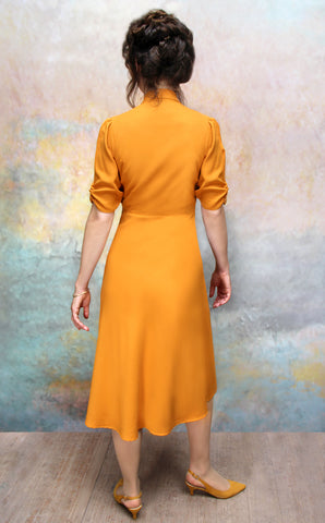 Sable dress in saffron moss crepe - back model shot