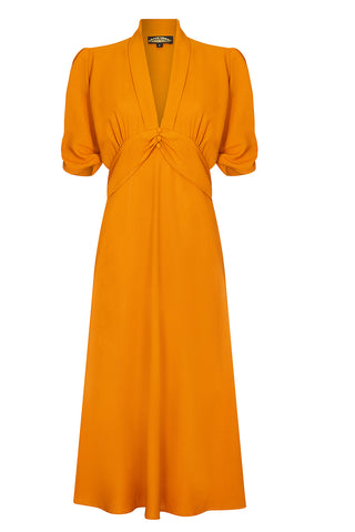 Sable dress in saffron moss crepe - front mannequin shot