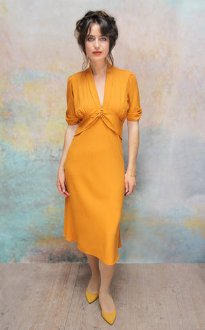 Sable dress in saffron moss crepe - front model shot