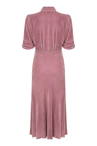 Sable dress in sweet pea silk velvet