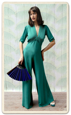 Sable jumpsuit in teal crepe - studio shot