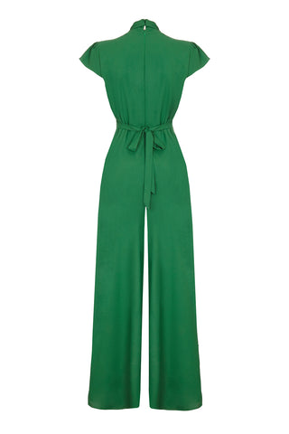 Nancy Mac Sable jumpsuit in Montecarlo green moss crepe - mannequin back