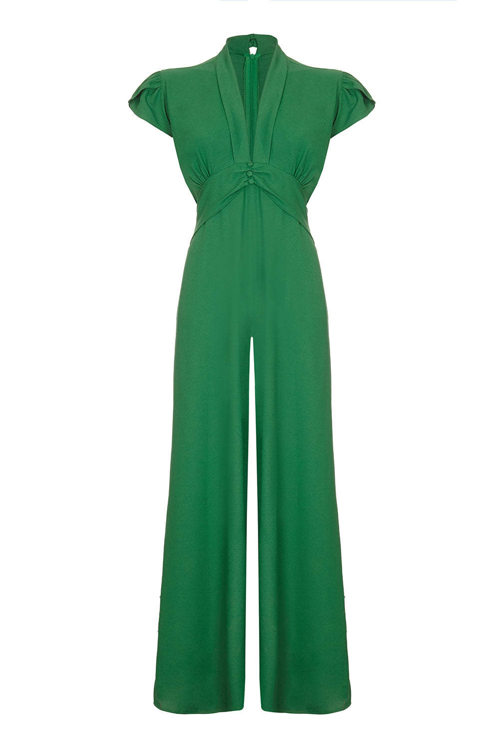 Nancy Mac Sable jumpsuit in Montecarlo green moss crepe - mannequin front