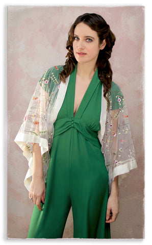 Nancy Mac Sable jumpsuit in Montecarlo green moss crepe - with embroidered lace shrug