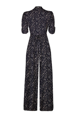 Vintage style moss crepe jumpsuit in black heart print - mannequin back