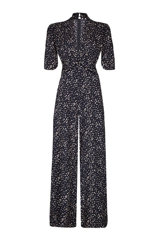 Vintage style moss crepe jumpsuit in black heart print - mannequin front