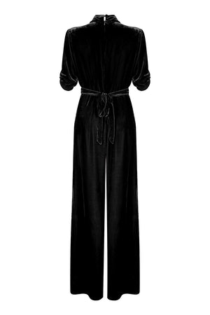 Sable jumpsuit in jet black silk velvet - back mannequin
