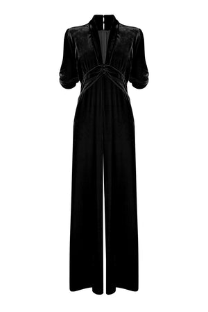 Sable jumpsuit in jet black silk velvet - front mannequin