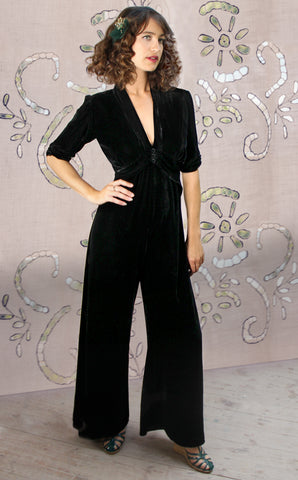 Sable jumpsuit in jet black silk velvet - model shot