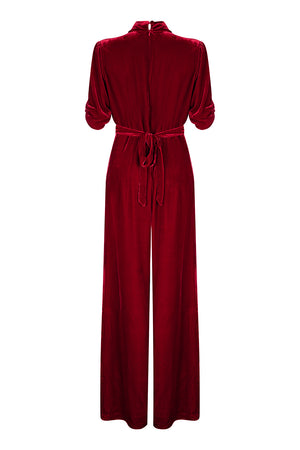 Sable jumpsuit in deep red silk velvet - back mannequin