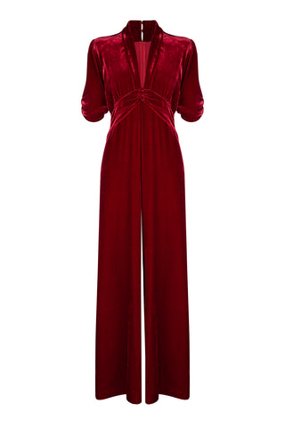 Sable jumpsuit in deep red silk velvet - front mannequin