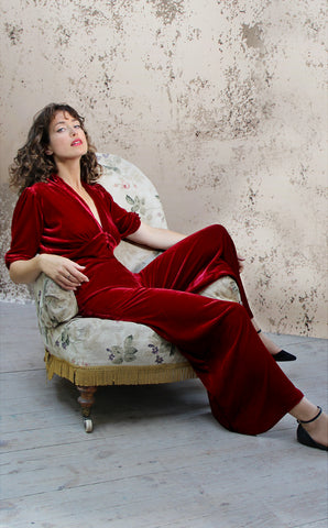 Sable jumpsuit in deep red silk velvet - model shot