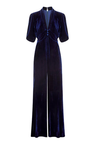 Sable jumpsuit in midnight silk velvet