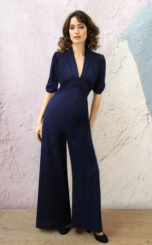 Sable jumpsuit in French navy crepe